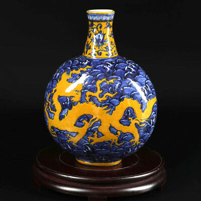 China antique porcelain MING YONGLE yellow glaze blue & white dragon flat vase