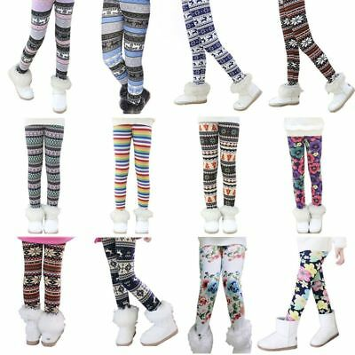 Winter Baby Kids Girls Leggings Thick Thermal Pants Stretch Long Trousers 1-9Y