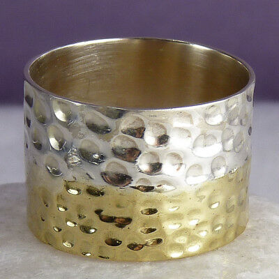 FUSION Wide Hammered US 8.25 SilverSari RING Solid 925 Sterling Silver + Brass