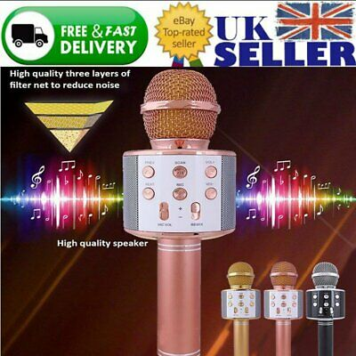 WS858 Wireless Bluetooth Karaoke Microphone Speaker Handheld Mic USB Player KTV
