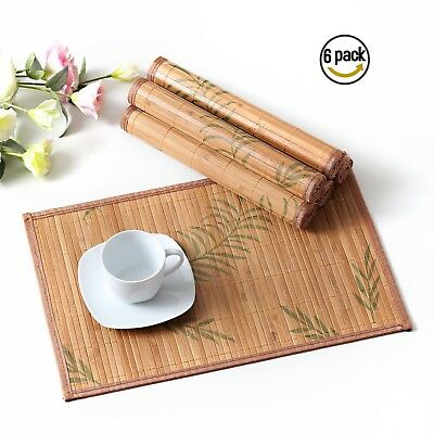 LOVECASA 6-pieces Bamboo Placemats Table Non-Slip Heat-Resistant Dinning Mats