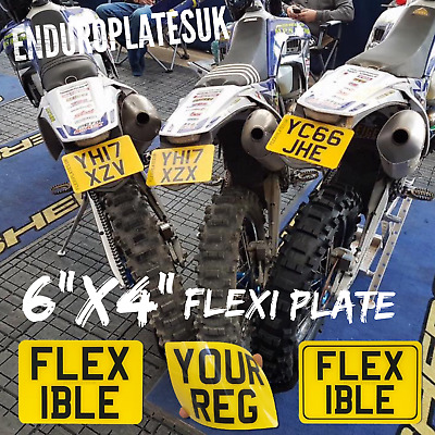 "FLEXIBLE 6 x 4"" SHOW NUMBER PLATE OFF ROAD KTM EXC ENDURO MOTORCYCLE FLEXI REG"