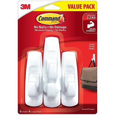 Command Hooks 4 Pack Large Hanging Strong Holds Up To 2.2kg