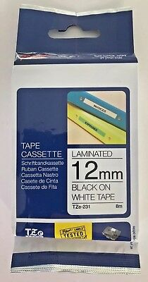 Genuine Brother P-Touch 12mm x 8m Black on White Tape Laminated TZe-231 TZe231