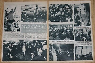 BRIGITTE BARDOT IN NEW YORK 4 page 1966 spain magazine article clippings photos