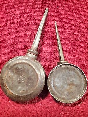 Lot of 2 VINTAGE ANTIQUE VERY OLD OIL TIN CAN OILERS EUROPEAN COLLECTIBLE