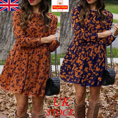 UK Womens Floral Long Sleeve Dress Ladies Winter Casual Holiday Midi Dresses Top