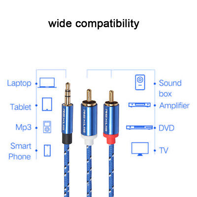NEW Durable 0.5~15M 3.5mm Male-2RCA Male Cable Audio Cable Cord Fr PC phone LOT