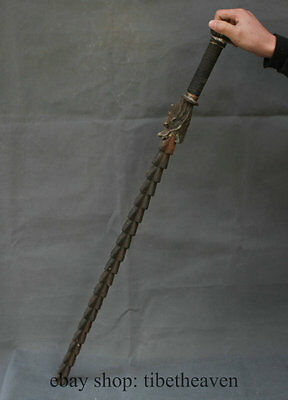 """33"""" Old Chinese Culture Bronze Dragon Handle Cold Weapon Ancient (鞭)Arms"""