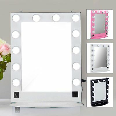 Chende Large Table Vanity Mirror with Lights Hollywood Style with 12 LED bulbs B