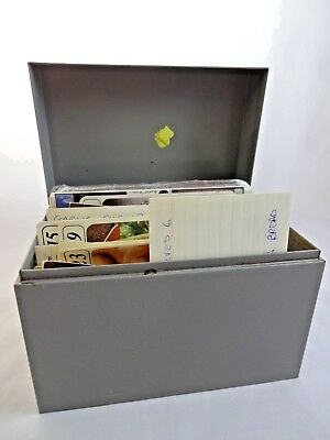Vintage Grey Metal Recipe Box with Recipes Handwritten Typed Clipped and Cards