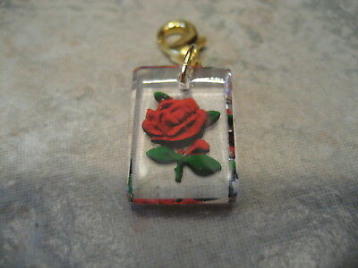 Red ROSE vintage intaglio reverse carved & painted  purse, keychain charm