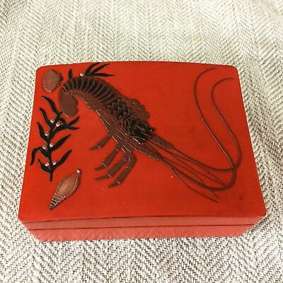 Japanese Box Vintage Lacquer Ware Lacquer Wood Red Black Lobster Shrimp