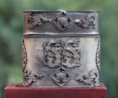 China Miao Silver Handwork auspicious Lucky Dragon phoenix Pot box casket