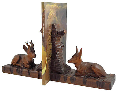 Black Forest Hand Carved Wooden Bookend Shelves Rack Books Holder Roe Deer