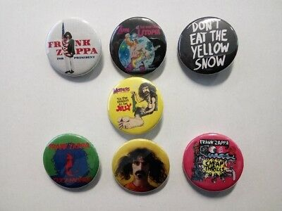 7 X FRANK ZAPPA buttons (25mm,badges, pins, mothers invasion, rats, vinyl, best)