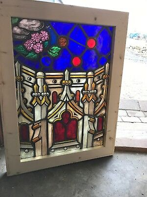 SG 2591 antique painted in fired architectural design floral window 20.75 x 27.5