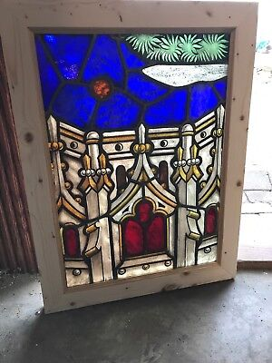 SG 2590 antique architectural design painted in fired landing window 20.75 x 27