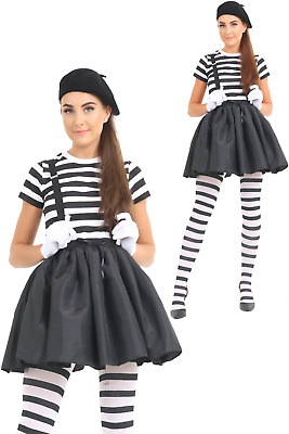 Women Mime Artist Costume Adult Black White Couple Circus French Carnival Outfit