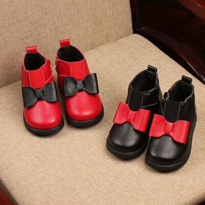 Baby Toddler Kids Girls Warm Zip Bow Non-Slip Ankle Boots Chelsea Martin Shoes