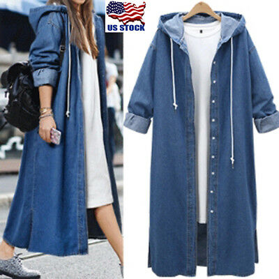 5c8bd35f81ace Womens Korean Hooded Demin Coats Loose Long Sleeve Oversize Jacket Candigan  Tops
