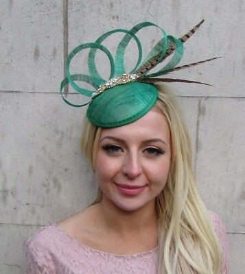 Emerald Green Brown Pheasant Feather Pillbox Hat Fascinator Races Hair Clip 6409