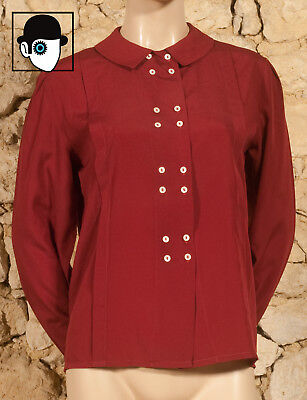 'CACHAREL' VINTAGE 70s PILGRIM COLLARED SHIRT - UK 12 fitted 14 - (Q)