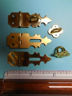 8  Vintage BRAINERD NOS Solid Antique BRASS Small Hinged HASPS. no.802
