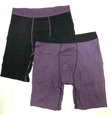 TOMMY JOHN 2-Pack BLACK/PURPLE LARGE Boxer Briefs NWT!