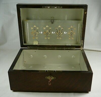 Vintage Antique Wood Humidor Cigar Box Lined with Key