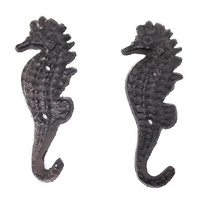 Pair of Cast Iron Seahorse Wall Hooks for Bath Towel or Keys at Beach House