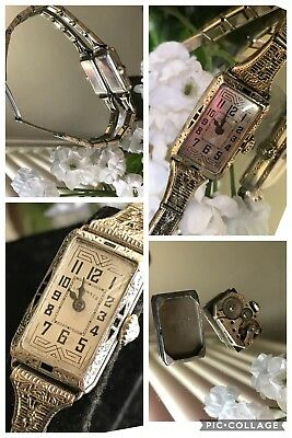 1930's Ladies Art Deco Enamel Tavannes Watch~Filigree Band~Runs