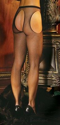 Plus Size (18 - 26) Black Fishnet Crotchless Suspender Tights Open Crotch