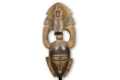 "Elegant Baule Mblo Mask with Superstructure 19"" - Ivory Coast - African Art"