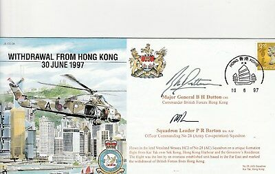 RAF Withdrawal from Hong Kong flown cover signed Bryan Dutton + Peter Melson