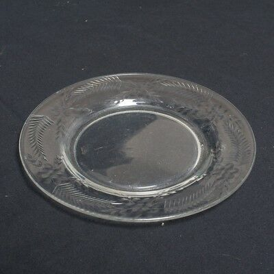 """5 Piece Victorian Clear Glass Dessert Plates with Etched Floral Design 7.5"""""""