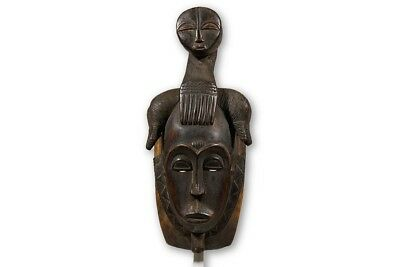 "Handsome Baule Mblo Mask with Stand 18.5"" - Ivory Coast - African Art"