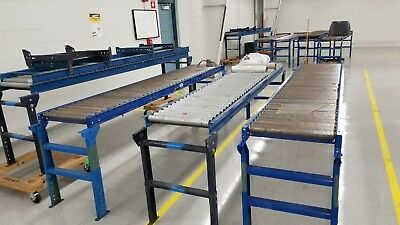 "24"" x 10' gravity roller conveyor sections and adjustable stands"
