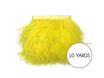10 Yards - Yellow Ostrich Fringe Trim Wholesale Feather Halloween Prom Dress