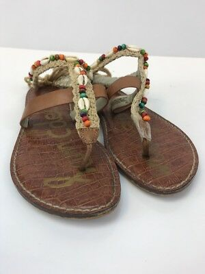 df34319446c31b Sam Edelman Women s Brown Multi-Color Beaded Ankle Tie Thong Sandals ...