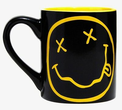 NIRVANA Rock Band - Yellow + Black Dead Happy Face 14 oz Coffee Mug-New W/Tag!!