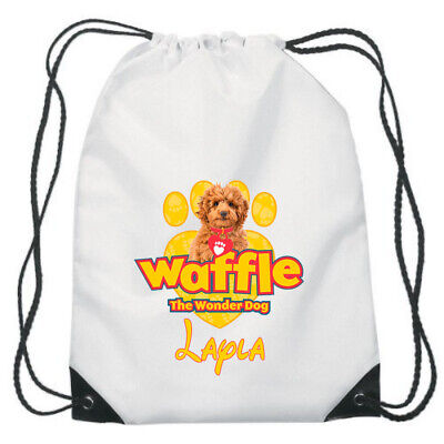Waffle the wonder dog personalised sublimation Gym school drawstring bag
