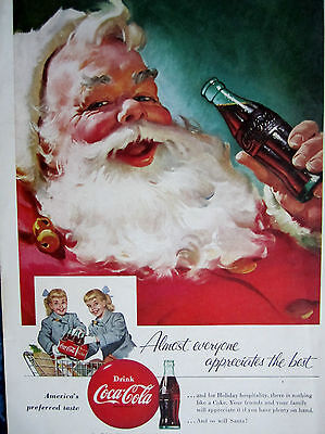 """Vintage Coca Cola 1955 Christmas  Ad Store Sign """" SANTA WITH TWIN GIRLS & A COKE"""