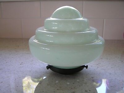 Art Deco green mottled glass ceiling light shade with original Bakelite gallery