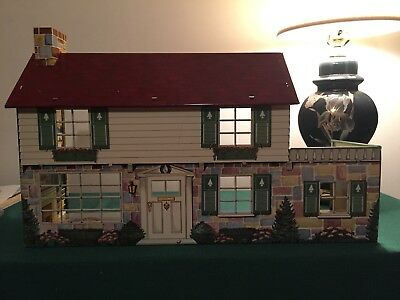 Vintage Marx Tin Litho Doll House With Game Room Awnings And