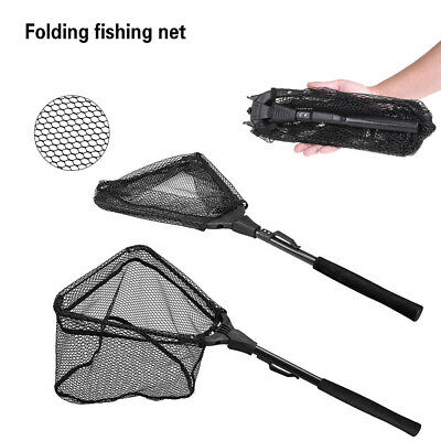 Folding Fishing Net Mesh Fish Landing Net Collapsible Foldable Pole Handle