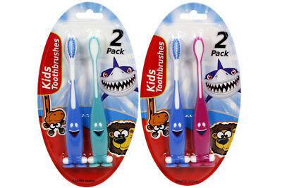 4 Pack Kids Toothbrush Smiley Face Soft Assorted Brush Oral
