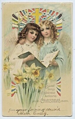 1908 Litho Pu Postcard Hold To Light Xmas 2 Girls Singing Carols Good Cond S21