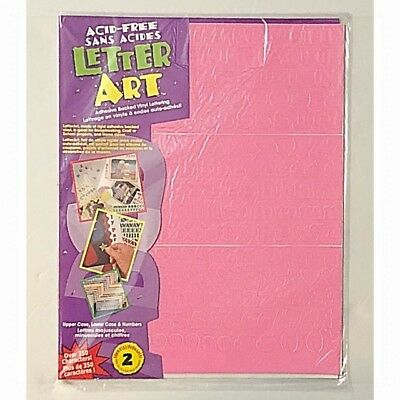 """New LETTER ART .50"""" Pink Vinyl (Pack of 350) NUMBERS & LETTERS - Sealed Pack"""