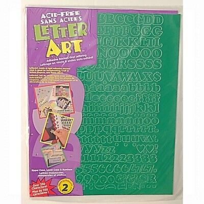 """New LETTER ART .50"""" Green Vinyl (Pack of 350) NUMBERS & LETTERS - Sealed Pack"""